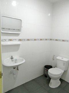 Bathroom toilet and sink.