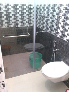 toughened glass partitioned bathroom