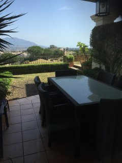 Rear garden with front line golf view, views of Mijas and the mountains