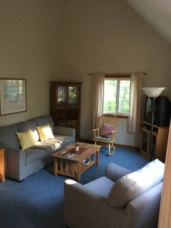 Vaulted ceilings in this comfortable newly furnished and carpeted room