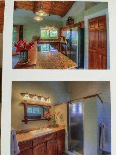 Kitcehn granite counters (top) and bathroom vanity and large walk-in shower