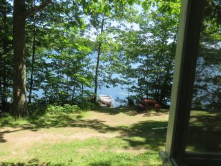 view of lake from cabin