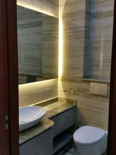 Marble and quality finishing bathroom. Clean and new.