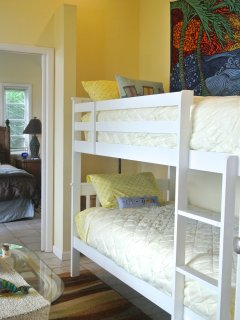 Bunk beds w comfy mattresses in the bonus room off the master (can be closed off for privacy).