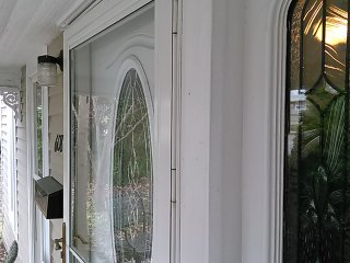 The front door with sidelight