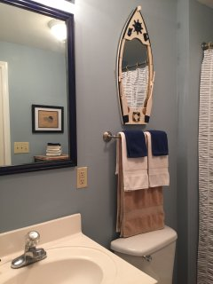 Fun nautical Guest Bath connected to Guest Bedroom and Living area.