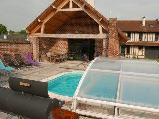la terrasse et les abris amovibles de la piscine