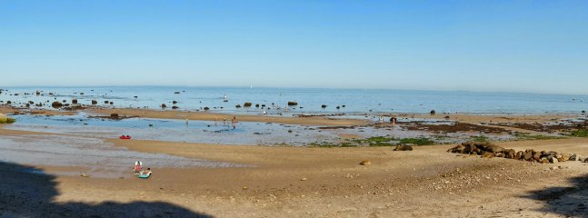 Panorama of our amazing beach at low tide.