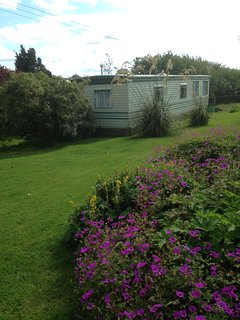 Close up of the static caravan