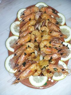 A delicious prawn dish prepared by our Cook