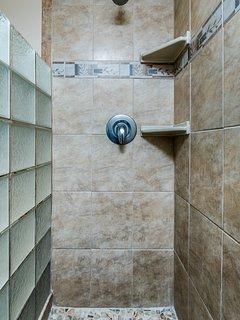 En-suite bathroom walk-in shower.