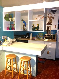 KITCHEN IS OPEN AND STOCKED WITH EVERYTHING NEEDED!