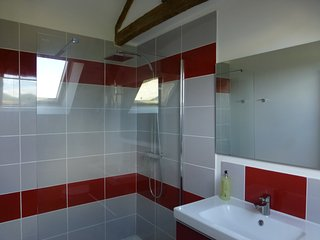 Modern bathroom with large walkin shower
