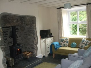 Cosy hillside Cottage with Inglenook Fireplace, Penmachno