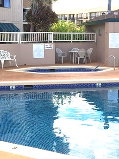 Hot tub and pool are near unit