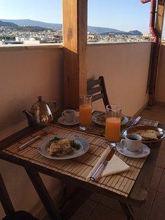 Breakfast for two on the veranda.