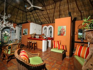 The palapa is tropical magic.  Beautiful sitting area over looking the kitchen