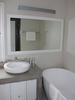 The second bathroom has a tub, a shower as well as a toilet.