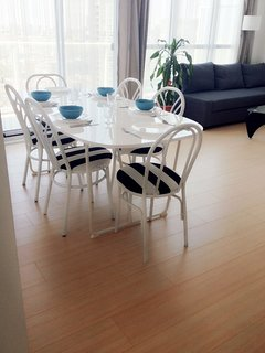 Dining table and balcony doors