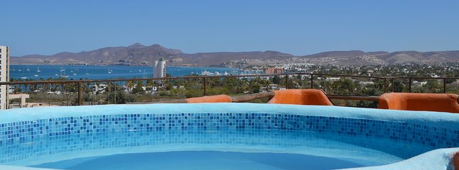 View of La Paz Bay and city from Rooftop Palapa jacuzzi