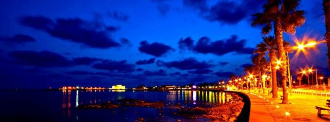 Paphos Harbour by night.