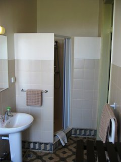 The en-suite bathroom with shower. Shower gel, soap and a hair dryer are also provided