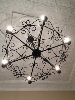 Chandelier over the bed
