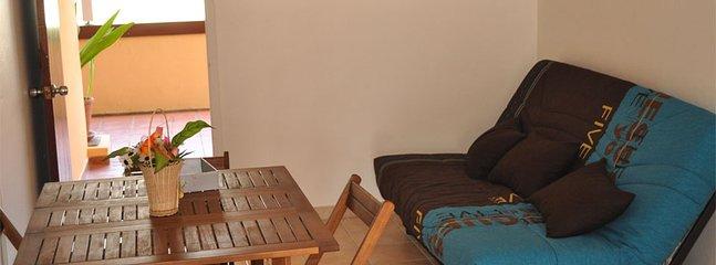 Séjour du T2 de 72 m2 (dont terrasse privative et abritée de 30 m2) pour 5 personnes