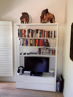 corner in the living room with TV and books