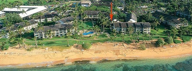 The arrow shows our condo's location at the lush tropical resort.