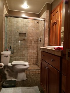 Upper level bathroom with walk in shower.