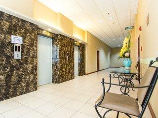 Hallway with elevators