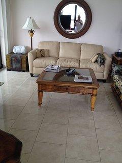 Living room sofa leather sleeper