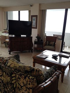 living room with 55inch TV