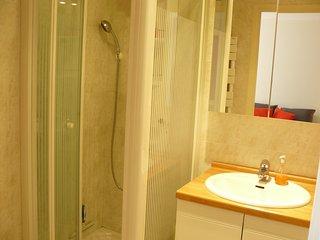 vue sur le lavabo et la douche