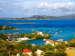 View of Cruz Bay harbor and distant STT from apartment