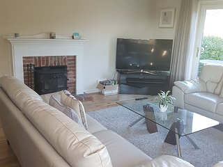 Lounge seating with wood burner open log fire and views across the 3 acre New Forest site.