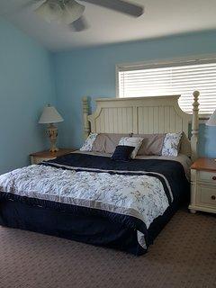 Updated bedding in Master bedroom.