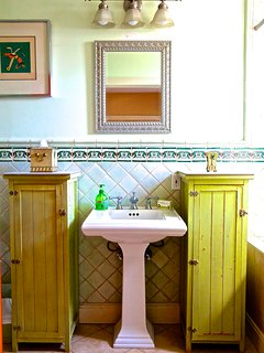 Italian tile docorates the master bath