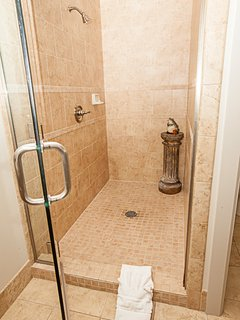 Gorgeous master bathroom w/ granite counters & tiled shower