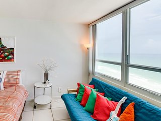Refreshing oceanfront space with access to beach & shared pool