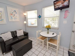 Cheerful ground level condo- beach view, near amenities, patio, WiFi, North Redington Beach