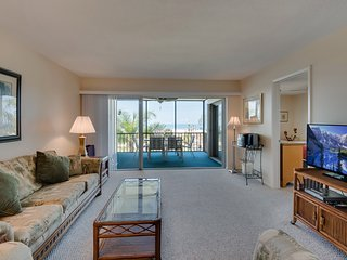 Living room is spacious and features a big screen tv and wifi.