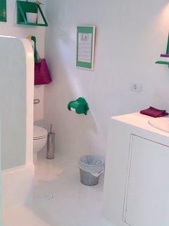 Baño y a la izquierda la ducha en manposteria