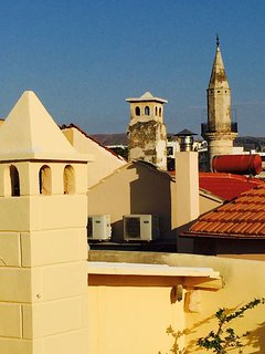 From here you can see the 2 Minarets of the old city