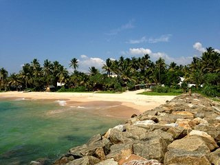 The beach and Indian Ocean are a few metres from the villa's front gate