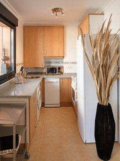 Cocina equipada americana (con nevera, lavavajillas, microondas, lavadora, vitro, horno, cafetera)