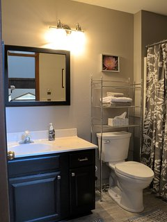 2nd full bath upstairs in proximity to the Snow and Wildlife bedrooms.