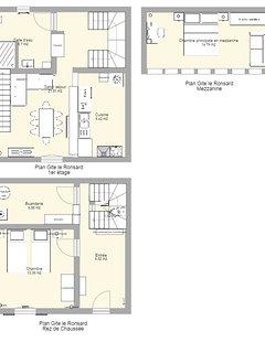 Plan du gite: rdc, 1er étage, mezzanine