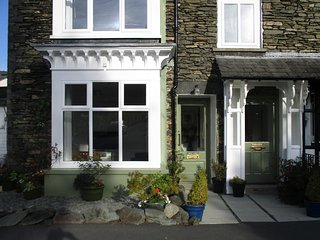 Two front entrances to Lakeland Lodge by Lake Windermere in Windermere, the Lake District, Cumbria.
